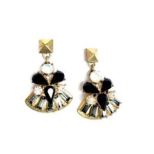 j. CREW ✨ opal & black gemstone fan earrings